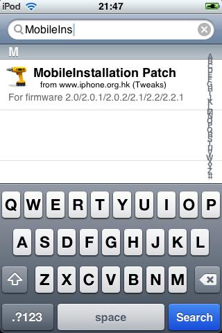 Cydia - Pesquisando pelo Mobileinstallation Patch