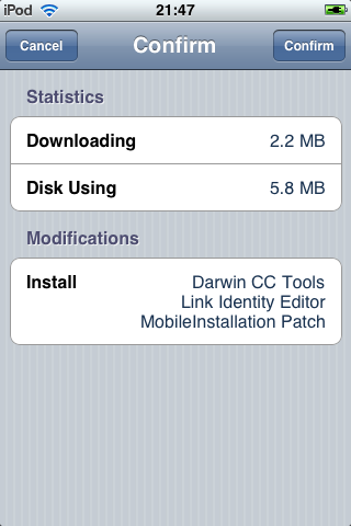 Cydia - Confirmando o download do Mobileinstallation Patch