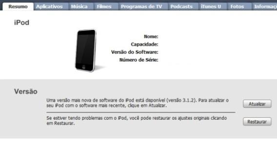 Tela Resumo, no iTunes