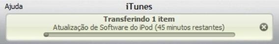 Progresso de atualização de software do iPod.