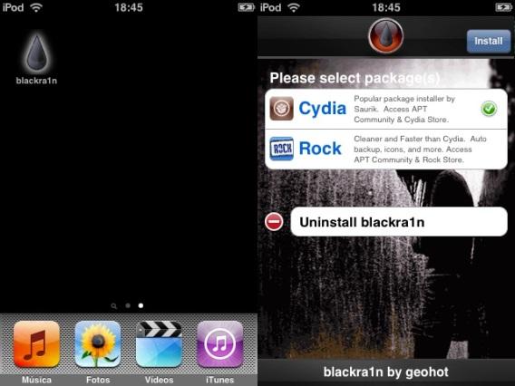 Ícone do Blackra1n e sua respectiva tela inicial com o Cydia selecionado para instalação