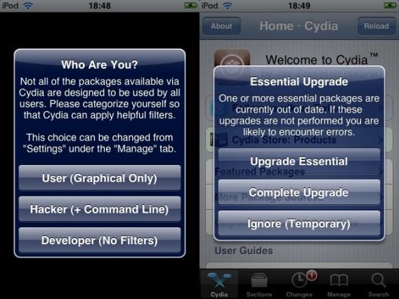Cydia - Selecionando o tipo de usuário e atualizando