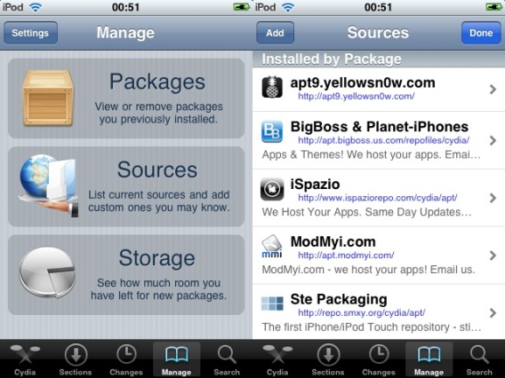 Cydia - Manage e Sources