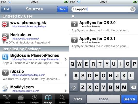 Cydia - Com as sources adicionadas, pesquisando pelo AppSync for OS 3.1