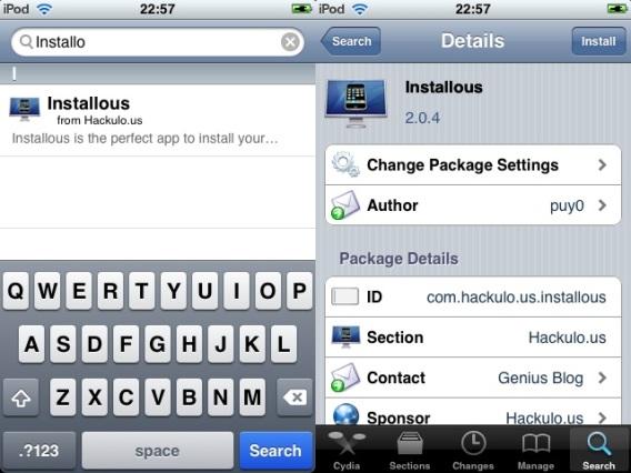 Cydia - Pesquisando pelo Installous