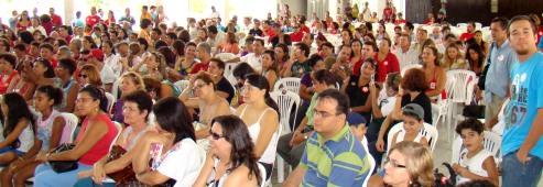 Lançamento do programa de governo da candidata Fátima Bezerra para a área de Educação, na sede do América, no Tirol, no dia 27 de setembro de 2008 (Foto: Isaac Ribeiro)