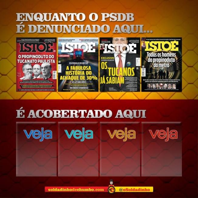 Revista Veja silencia diante de grandioso esquema de corrupção em governos do PSDB (Imagem: @oSoldadinho)